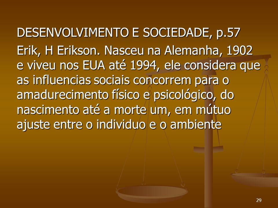 DESENVOLVIMENTO E SOCIEDADE, p.57 Erik, H Erikson. Nasceu na Alemanha, 1902 e viveu nos EUA até 1994, ele considera que as influencias sociais concorr