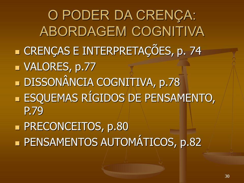 30 O PODER DA CRENÇA: ABORDAGEM COGNITIVA  CRENÇAS E INTERPRETAÇÕES, p. 74  VALORES, p.77  DISSONÂNCIA COGNITIVA, p.78  ESQUEMAS RÍGIDOS DE PENSAM
