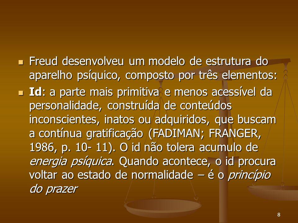 9  Ego: responsável pelo contato do psiquismo com a realidade ex-terna, contém elemento (FREUD 1974, p.11).