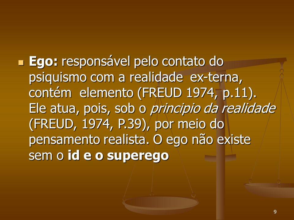 9  Ego: responsável pelo contato do psiquismo com a realidade ex-terna, contém elemento (FREUD 1974, p.11). Ele atua, pois, sob o principio da realid