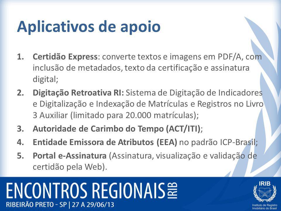 Aplicativos de apoio 1.Certidão Express: converte textos e imagens em PDF/A, com inclusão de metadados, texto da certificação e assinatura digital; 2.