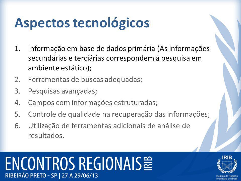 Aspectos tecnológicos 1.Informação em base de dados primária (As informações secundárias e terciárias correspondem à pesquisa em ambiente estático); 2