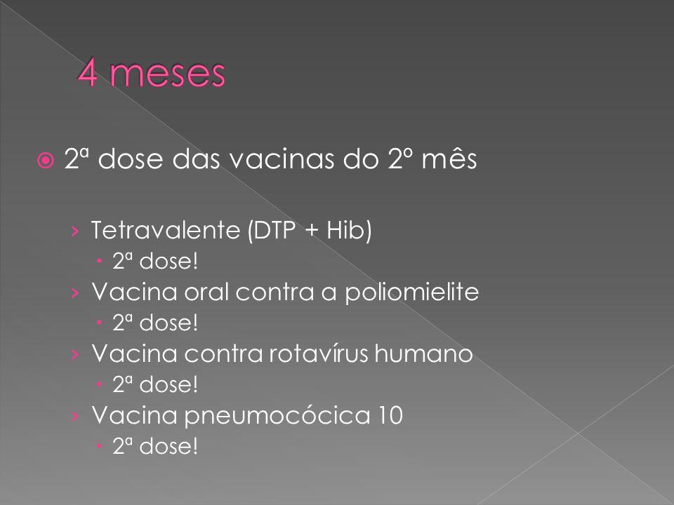  2ª dose das vacinas do 2º mês › Tetravalente (DTP + Hib)  2ª dose! › Vacina oral contra a poliomielite  2ª dose! › Vacina contra rotavírus humano