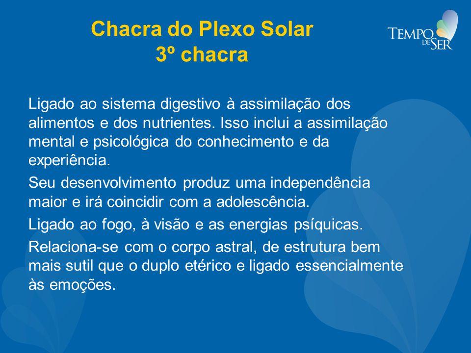 Chacra do Plexo Solar 3º chacra Ligado ao sistema digestivo à assimilação dos alimentos e dos nutrientes. Isso inclui a assimilação mental e psicológi
