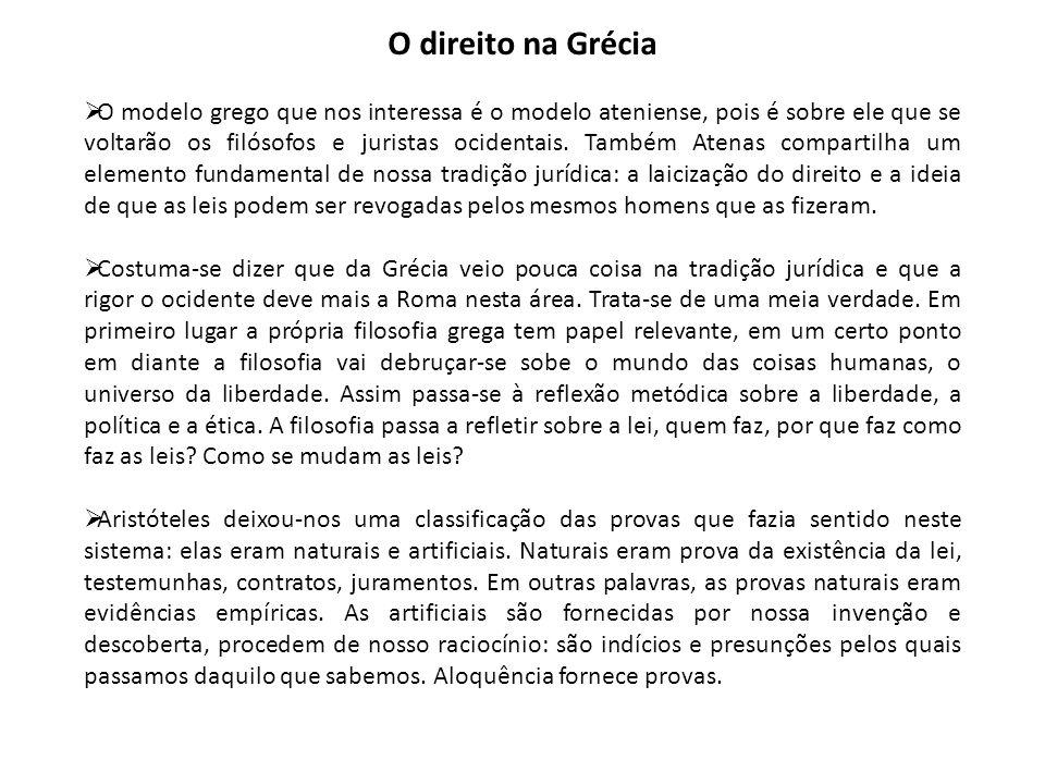 O direito na Grécia  O modelo grego que nos interessa é o modelo ateniense, pois é sobre ele que se voltarão os filósofos e juristas ocidentais. Tamb
