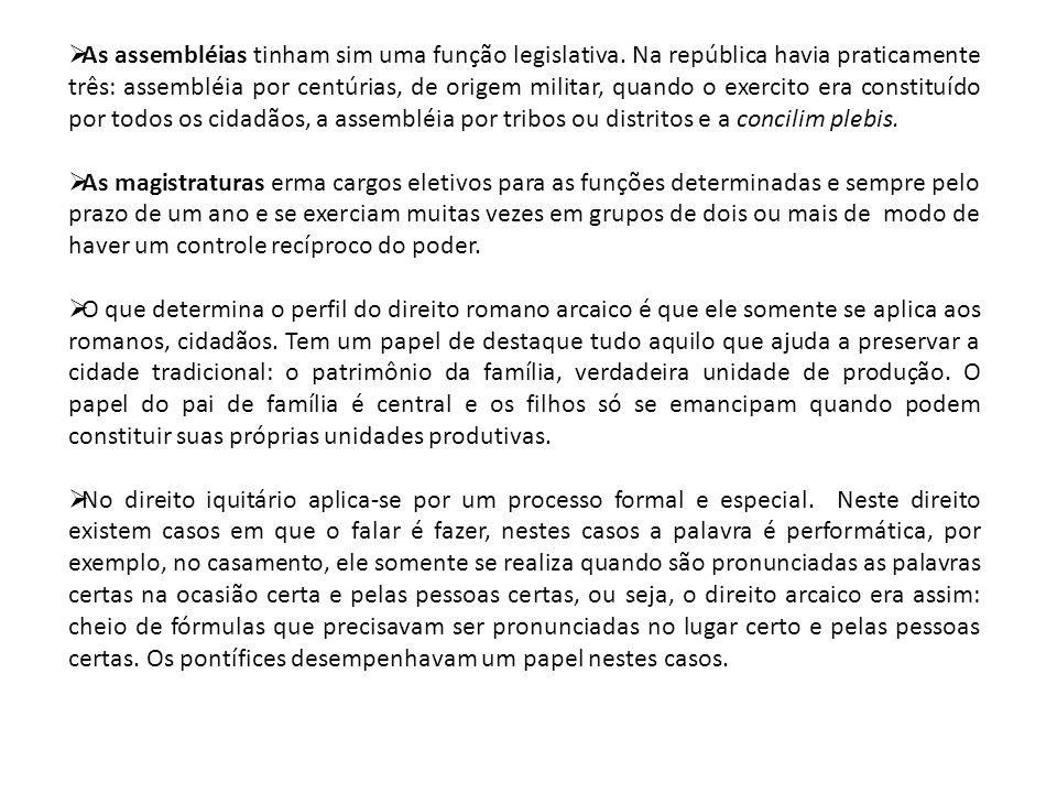 As assembléias tinham sim uma função legislativa. Na república havia praticamente três: assembléia por centúrias, de origem militar, quando o exerci