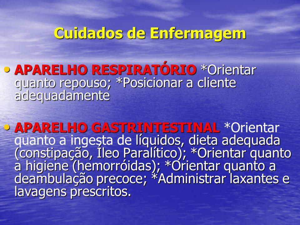 Cuidados de Enfermagem • APARELHO RESPIRATÓRIO *Orientar quanto repouso; *Posicionar a cliente adequadamente • APARELHO GASTRINTESTINAL líquidos, diet
