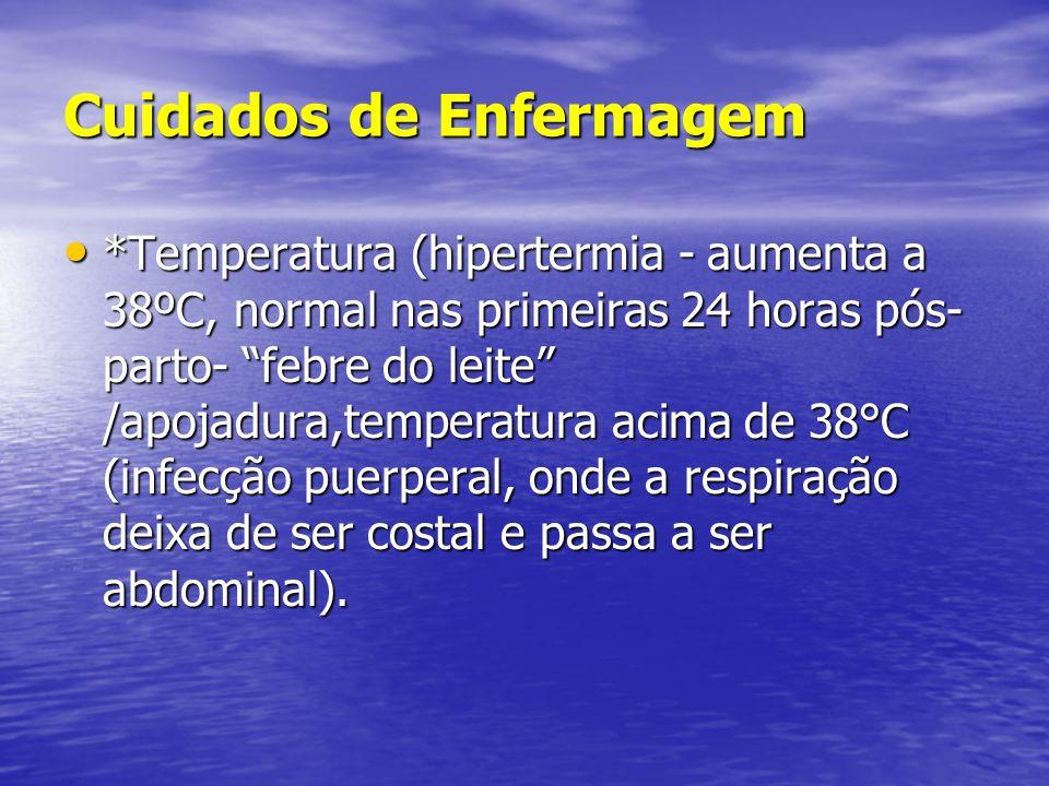 "Cuidados de Enfermagem • *Temperatura (hipertermia - aumenta a 38ºC, normal nas primeiras 24 horas pós- parto- ""febre do leite"" /apojadura,temperatura"