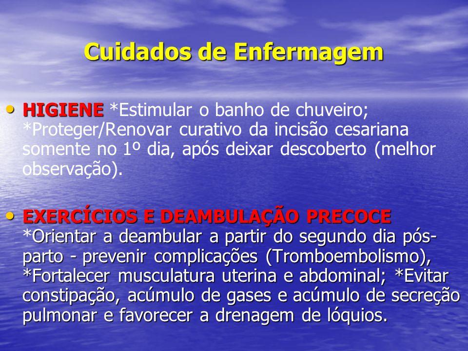 Cuidados de Enfermagem • HIGIENE • HIGIENE *Estimular o banho de chuveiro; *Proteger/Renovar curativo da incisão cesariana somente no 1º dia, após dei