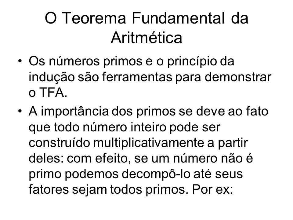 O Teorema Fundamental da Aritmética •Os números primos e o princípio da indução são ferramentas para demonstrar o TFA. •A importância dos primos se de
