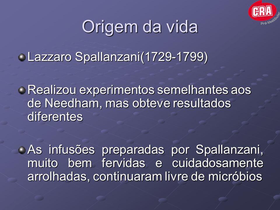 Origem da vida Lazzaro Spallanzani(1729-1799) Realizou experimentos semelhantes aos de Needham, mas obteve resultados diferentes As infusões preparada