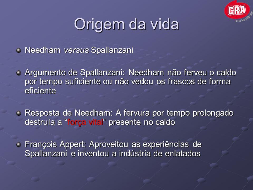 Origem da vida Needham versus Spallanzani Argumento de Spallanzani: Needham não ferveu o caldo por tempo suficiente ou não vedou os frascos de forma e