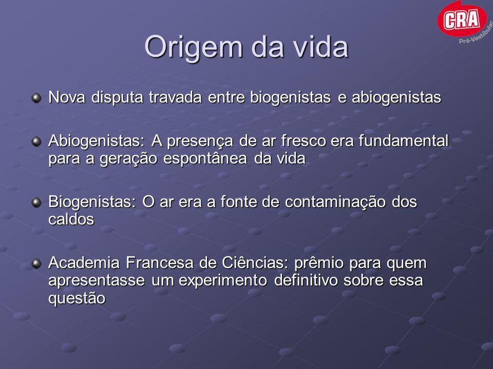 Origem da vida Nova disputa travada entre biogenistas e abiogenistas Abiogenistas: A presença de ar fresco era fundamental para a geração espontânea d