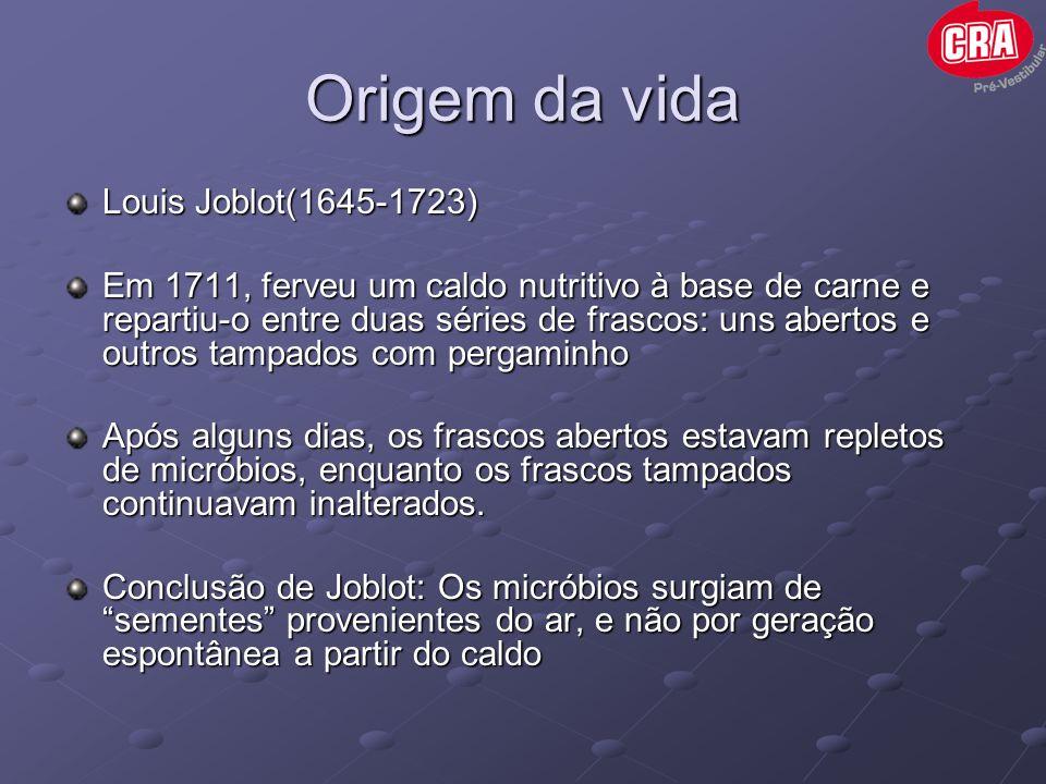 Origem da vida John Needham(1713-1781) Hipótese da geração espontânea ganha novo impulso Colocou caldo nutritivo em diversos frascos, fervendo-os por 30 min e tampou os frascos com rolhas Depois de alguns dias, os caldos estavam repletos de micróbios.