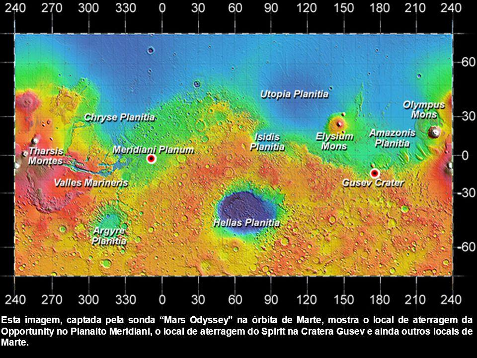 Esta imagem, captada pela sonda Mars Odyssey na órbita de Marte, mostra o local de aterragem da Opportunity no Planalto Meridiani, o local de aterragem do Spirit na Cratera Gusev e ainda outros locais de Marte.