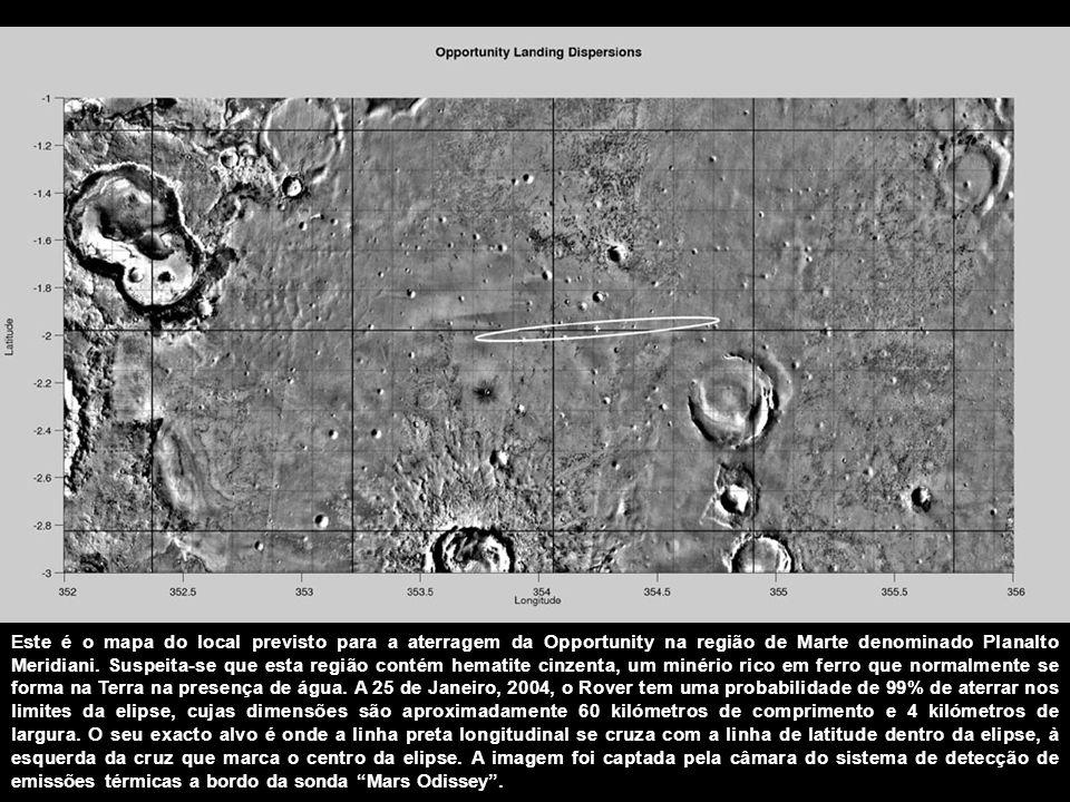 Este é o mapa do local previsto para a aterragem da Opportunity na região de Marte denominado Planalto Meridiani.