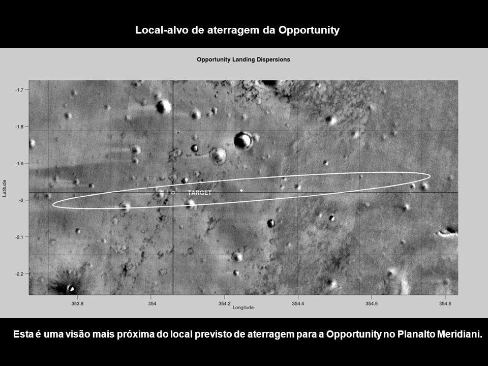 Local-alvo de aterragem da Opportunity Esta é uma visão mais próxima do local previsto de aterragem para a Opportunity no Planalto Meridiani.