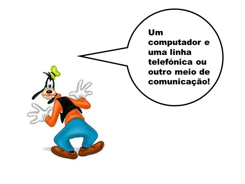 Um computador e uma linha telefónica ou outro meio de comunicação!