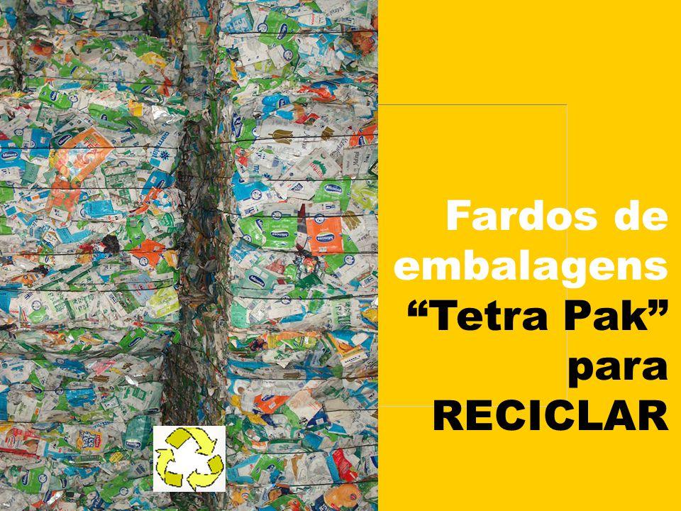 """Fardos de embalagens """"Tetra Pak"""" para RECICLAR"""