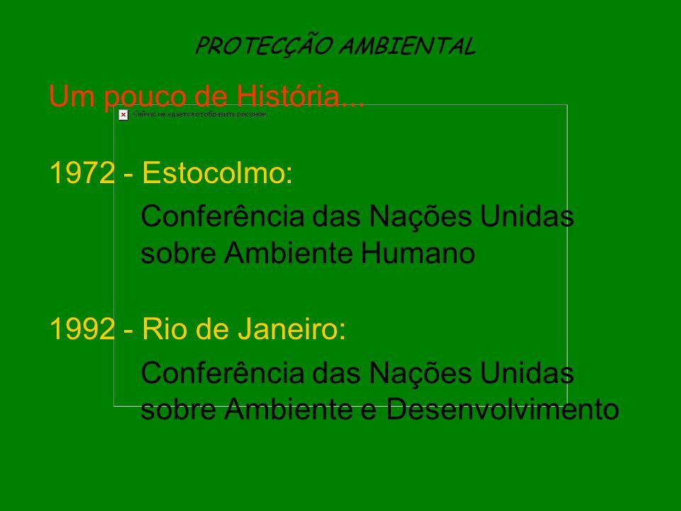 PROTECÇÃO AMBIENTAL Um pouco de História... 1972 - Estocolmo: Conferência das Nações Unidas sobre Ambiente Humano 1992 - Rio de Janeiro: Conferência d