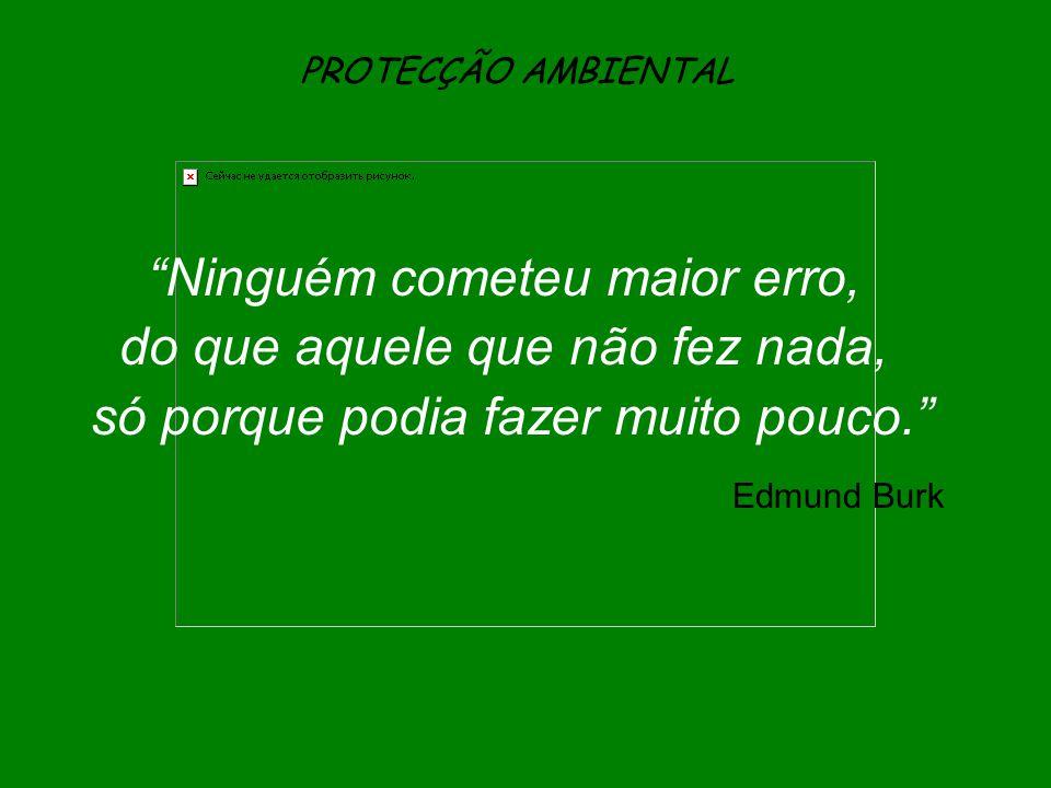 """PROTECÇÃO AMBIENTAL """"Ninguém cometeu maior erro, do que aquele que não fez nada, só porque podia fazer muito pouco."""" Edmund Burk"""