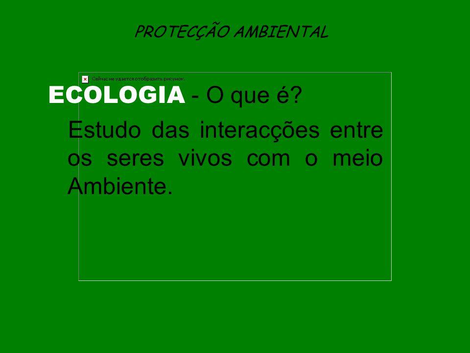 PROTECÇÃO AMBIENTAL ECOLOGIA - O que é? Estudo das interacções entre os seres vivos com o meio Ambiente.