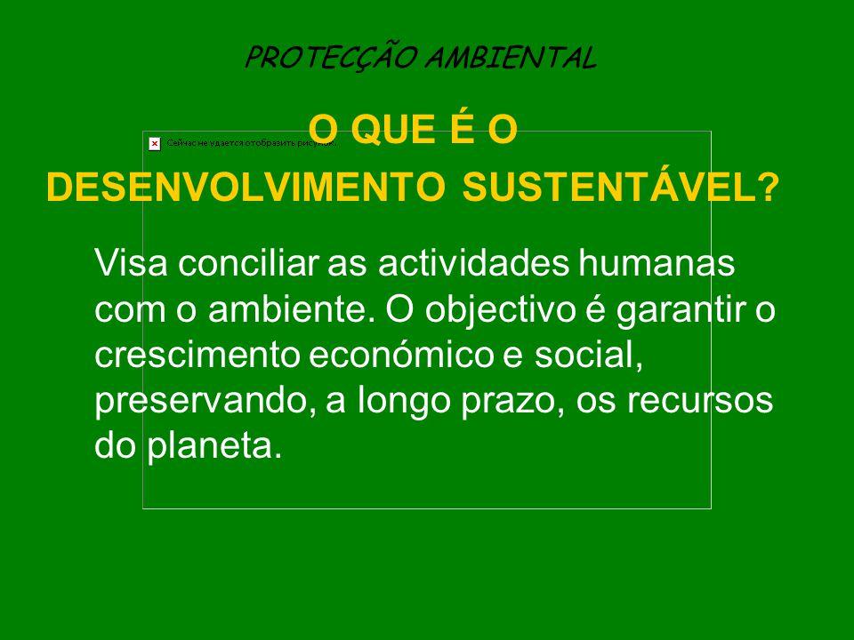 PROTECÇÃO AMBIENTAL O QUE É O DESENVOLVIMENTO SUSTENTÁVEL? Visa conciliar as actividades humanas com o ambiente. O objectivo é garantir o crescimento