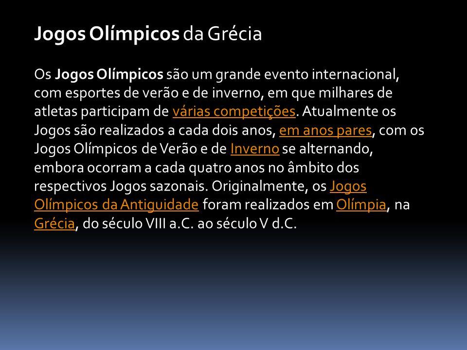 Os Jogos Olímpicos são um grande evento internacional, com esportes de verão e de inverno, em que milhares de atletas participam de várias competições
