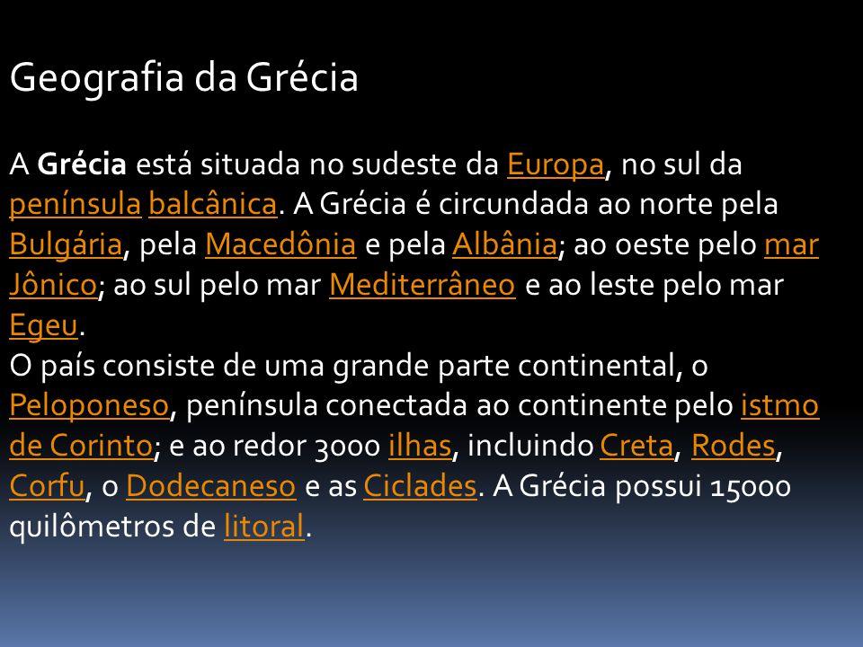 A Grécia está situada no sudeste da Europa, no sul da península balcânica. A Grécia é circundada ao norte pela Bulgária, pela Macedônia e pela Albânia