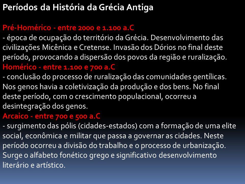 Períodos da História da Grécia Antiga Pré-Homérico - entre 2000 e 1.100 a.C - época de ocupação do território da Grécia. Desenvolvimento das civilizaç