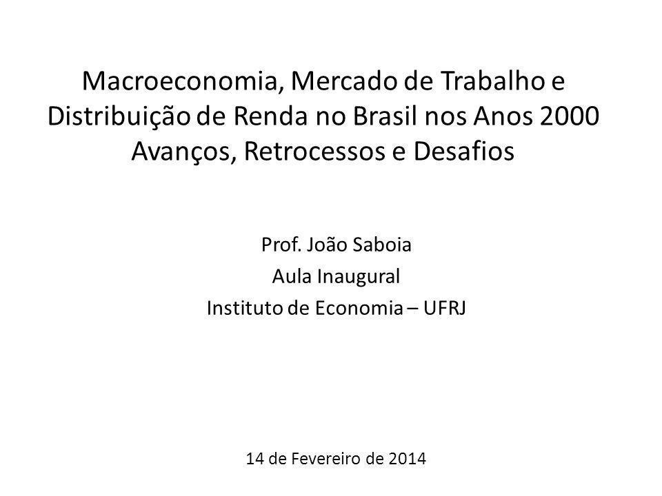 Macroeconomia, Mercado de Trabalho e Distribuição de Renda no Brasil nos Anos 2000 Avanços, Retrocessos e Desafios Prof. João Saboia Aula Inaugural In