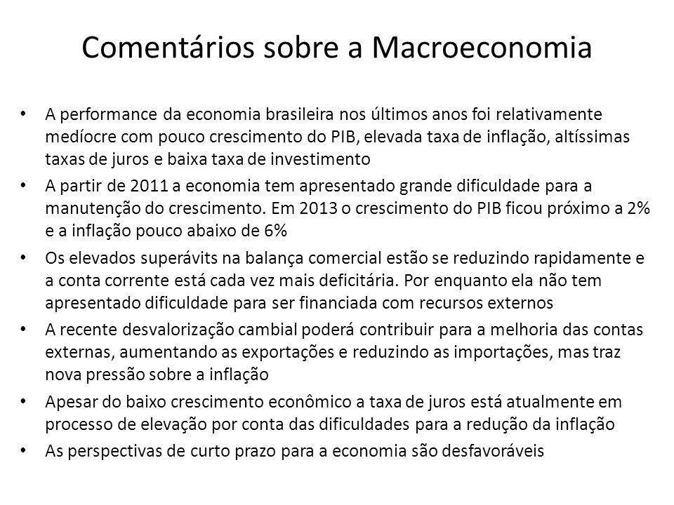Comentários sobre a Macroeconomia • A performance da economia brasileira nos últimos anos foi relativamente medíocre com pouco crescimento do PIB, ele