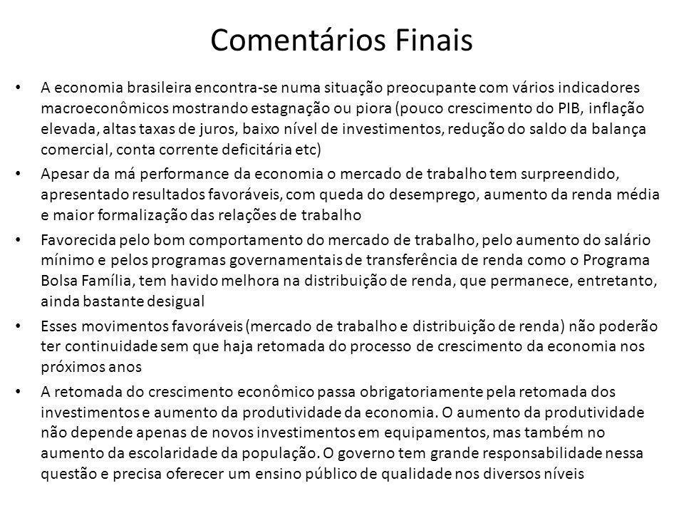 Comentários Finais • A economia brasileira encontra-se numa situação preocupante com vários indicadores macroeconômicos mostrando estagnação ou piora