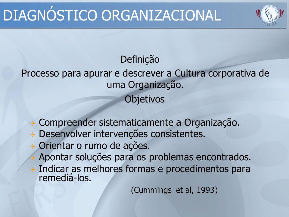 Definição Processo para apurar e descrever a Cultura corporativa de uma Organização. Objetivos  Compreender sistematicamente a Organização.  Desenvo