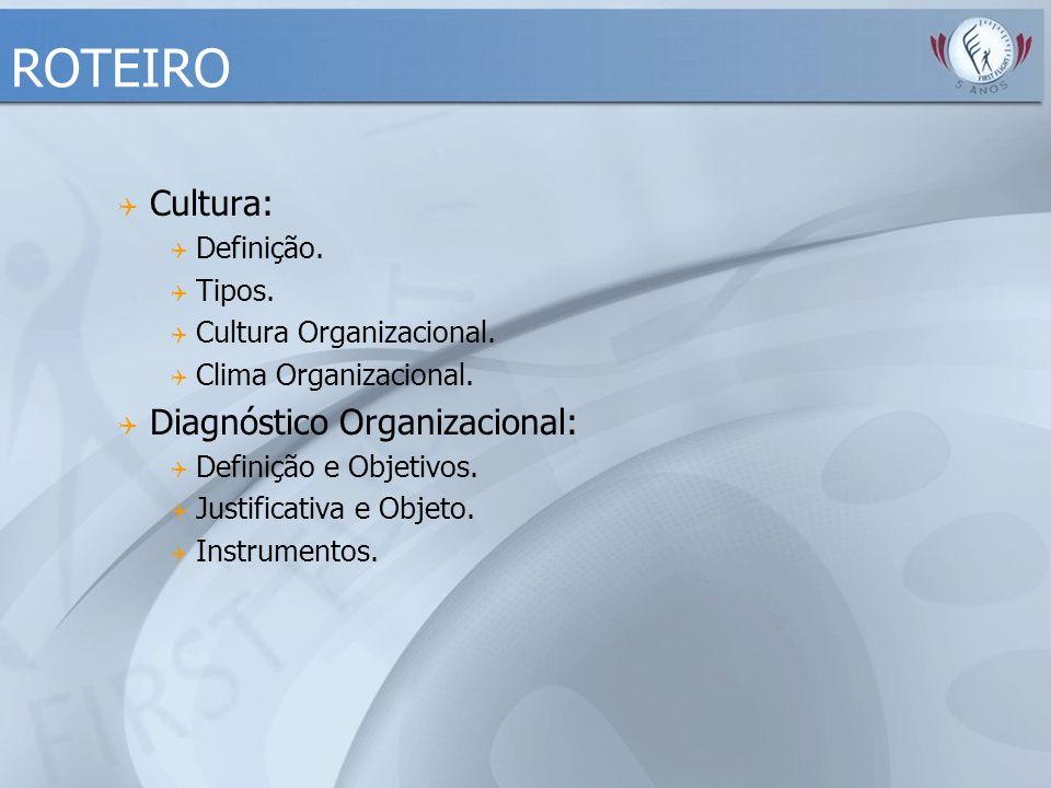 ROTEIRO  Cultura:  Definição.  Tipos.  Cultura Organizacional.  Clima Organizacional.  Diagnóstico Organizacional:  Definição e Objetivos.  Ju