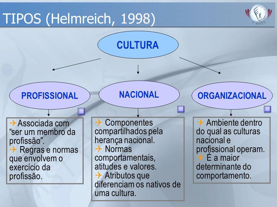 """TIPOS (Helmreich, 1998) CULTURA PROFISSIONAL  Associada com """"ser um membro da profissão"""".  Regras e normas que envolvem o exercício da profissão. NA"""
