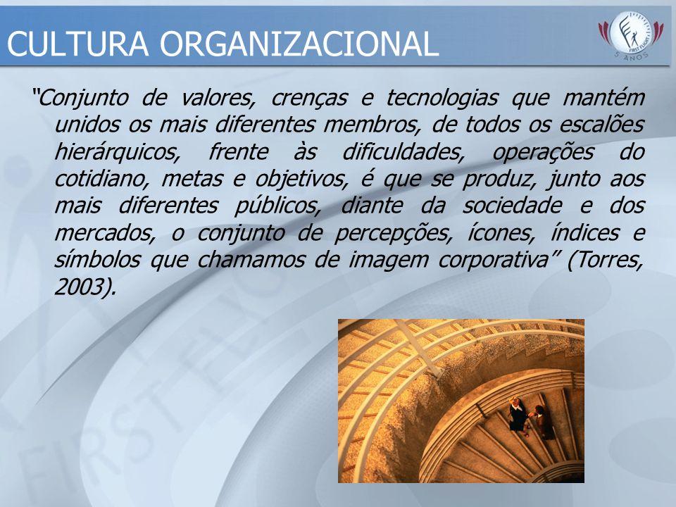 """CULTURA ORGANIZACIONAL """"Conjunto de valores, crenças e tecnologias que mantém unidos os mais diferentes membros, de todos os escalões hierárquicos, fr"""