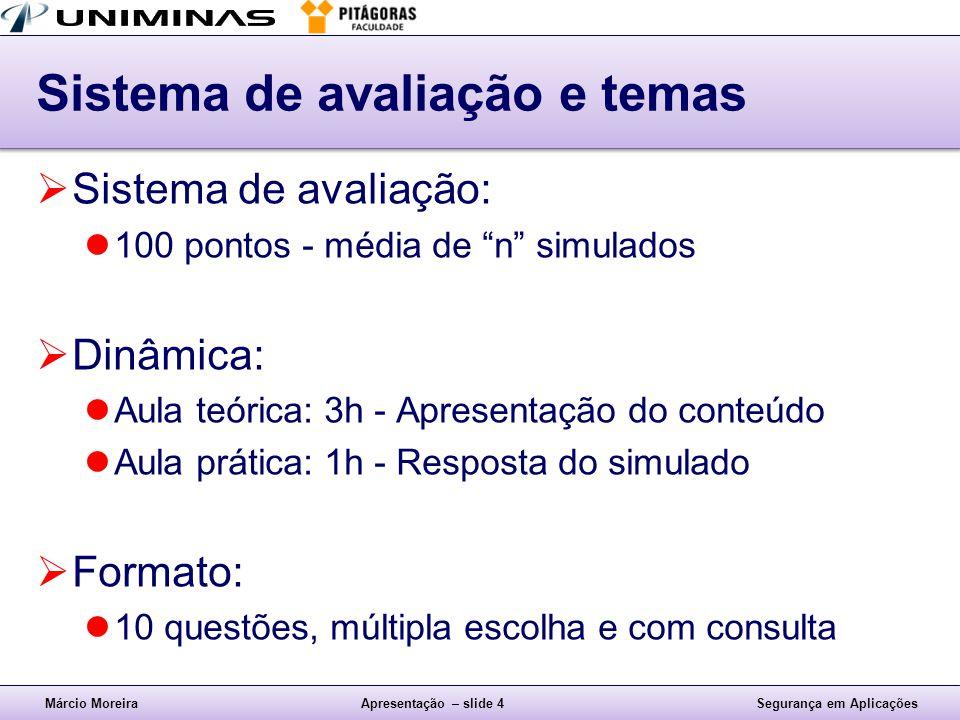 Márcio MoreiraApresentação – slide 5Segurança em Aplicações Bibliografia Complementar AulaTeóricaPrática 1) 27/04/2013 Apresentação Introdução 1º Simulado 2) 04/05/20132.