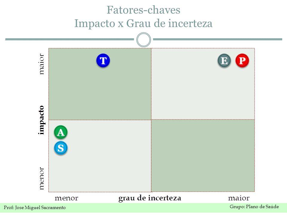 Grupo: Plano de Saúde Prof: Jose Miguel Sacramento Fatores-chaves Impacto x Grau de incerteza TT SS AA EEPP