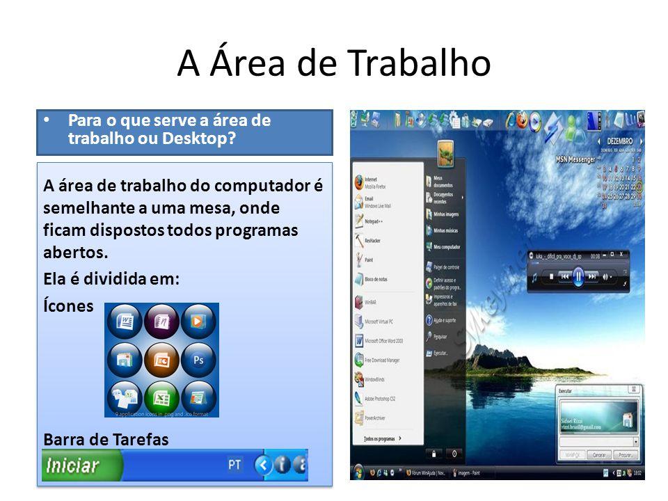 A Área de Trabalho • Para o que serve a área de trabalho ou Desktop?