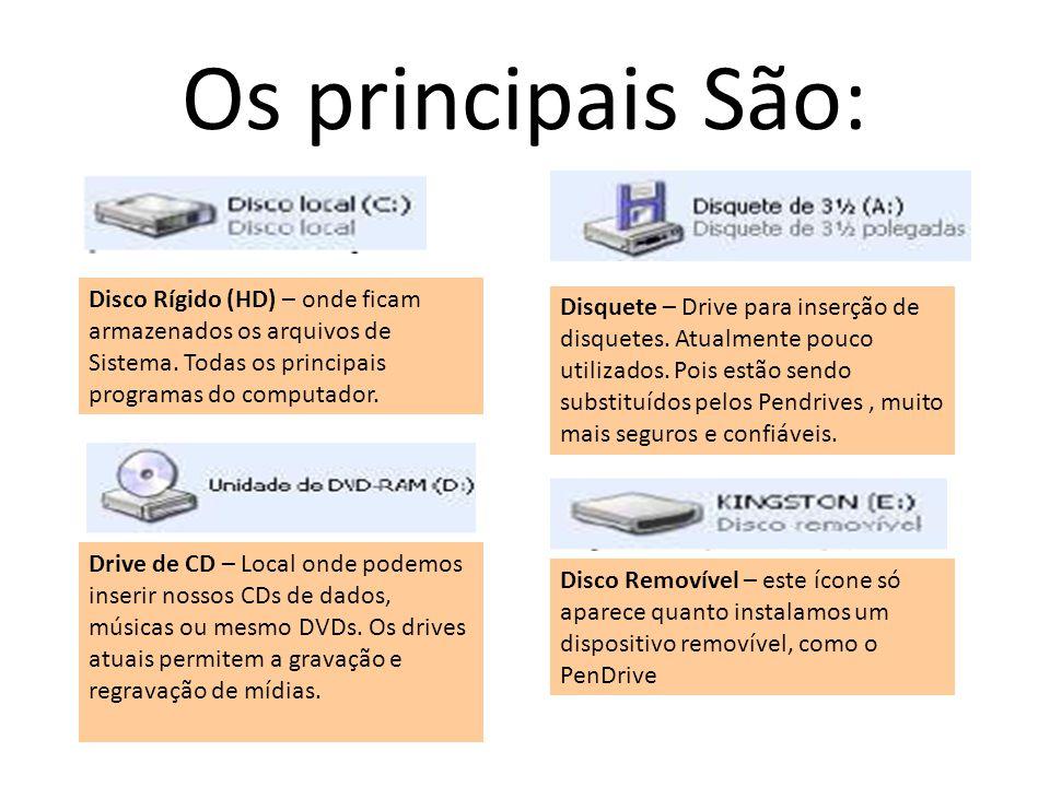 Os principais São: Disco Rígido (HD) – onde ficam armazenados os arquivos de Sistema. Todas os principais programas do computador. Drive de CD – Local