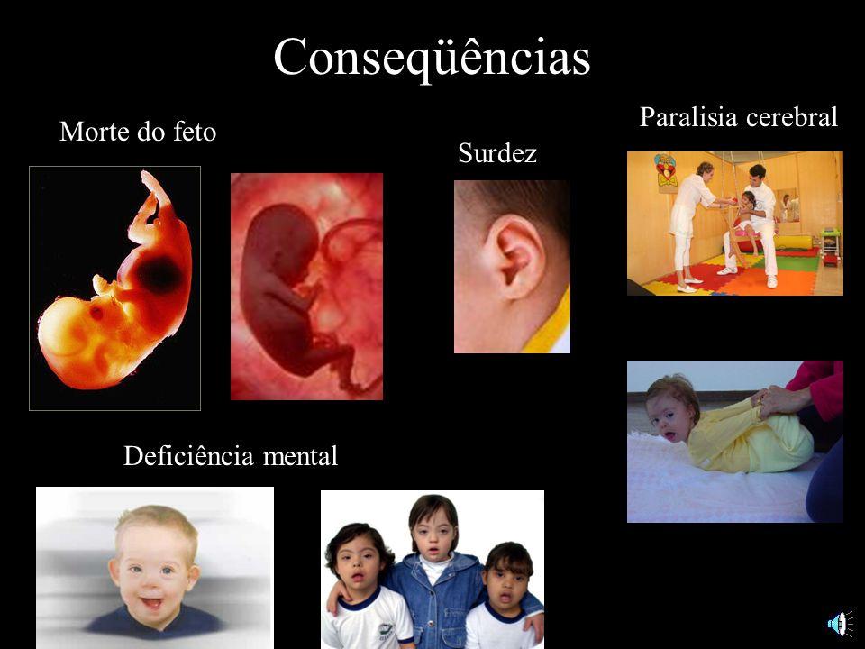 Conseqüências Morte do feto Paralisia cerebral Deficiência mental Surdez