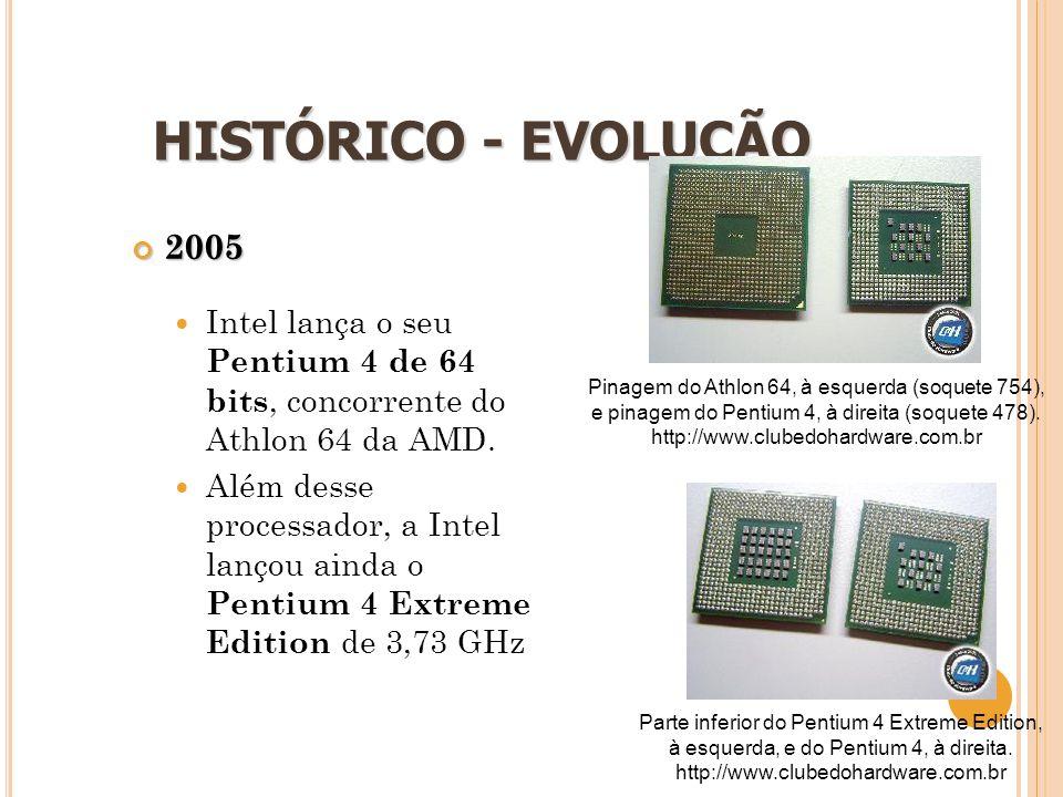 14 HISTÓRICO - EVOLUÇÃO 2005  Intel lança o seu Pentium 4 de 64 bits, concorrente do Athlon 64 da AMD.  Além desse processador, a Intel lançou ainda