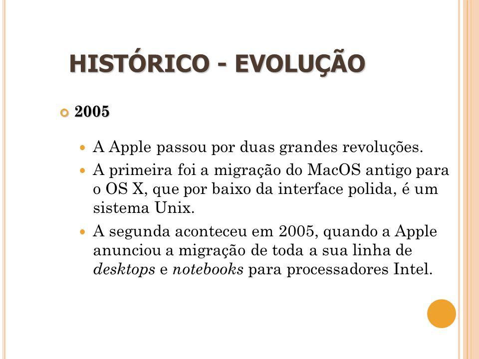 15 HISTÓRICO - EVOLUÇÃO 2005  A Apple passou por duas grandes revoluções.  A primeira foi a migração do MacOS antigo para o OS X, que por baixo da i