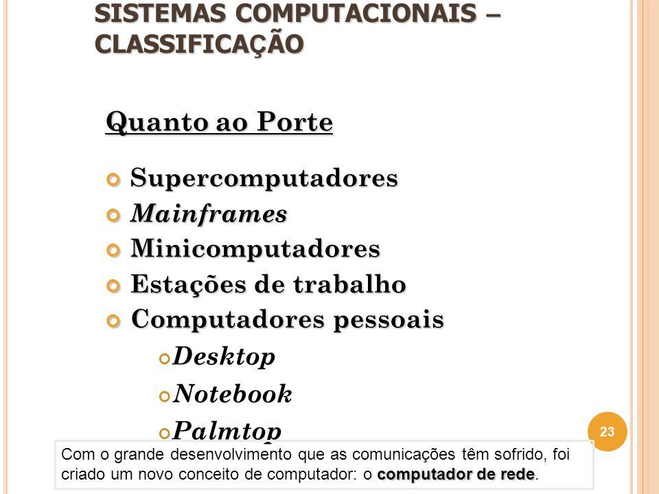 SISTEMAS COMPUTACIONAIS – CLASSIFICA Ç ÃO Quanto ao Porte SupercomputadoresMainframesMinicomputadores Estações de trabalho Computadores pessoais Deskt
