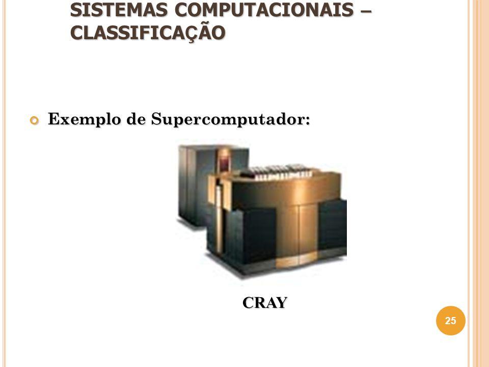 SISTEMAS COMPUTACIONAIS – CLASSIFICA Ç ÃO Exemplo de Supercomputador: 25 CRAY
