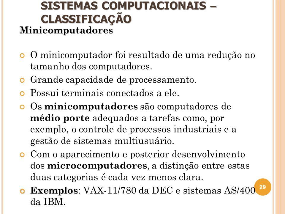 SISTEMAS COMPUTACIONAIS – CLASSIFICA Ç ÃO Minicomputadores O minicomputador foi resultado de uma redução no tamanho dos computadores. Grande capacidad