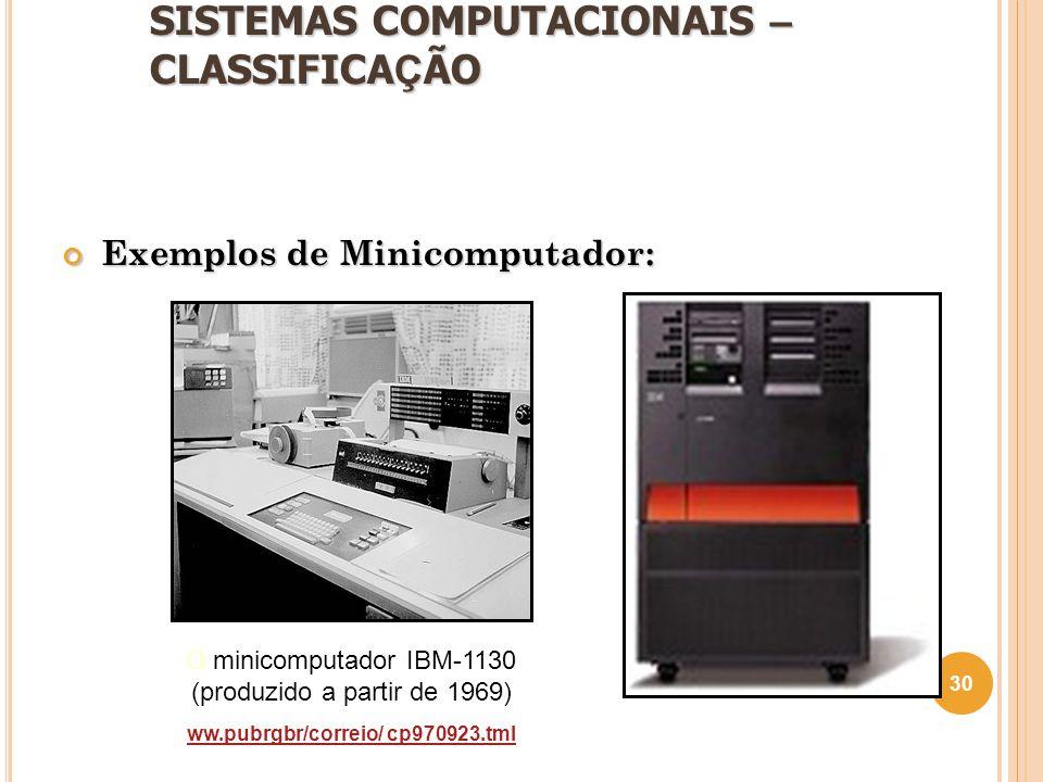 SISTEMAS COMPUTACIONAIS – CLASSIFICA Ç ÃO Exemplos de Minicomputador: 30 O minicomputador IBM-1130 (produzido a partir de 1969) ww.pubrgbr/correio/ cp