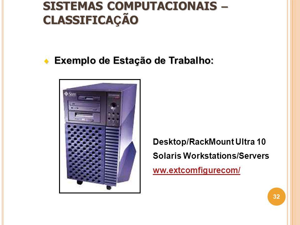 SISTEMAS COMPUTACIONAIS – CLASSIFICA Ç ÃO 32 Desktop/RackMount Ultra 10 Solaris Workstations/Servers ww.extcomfigurecom/  Exemplo de Estação de Traba