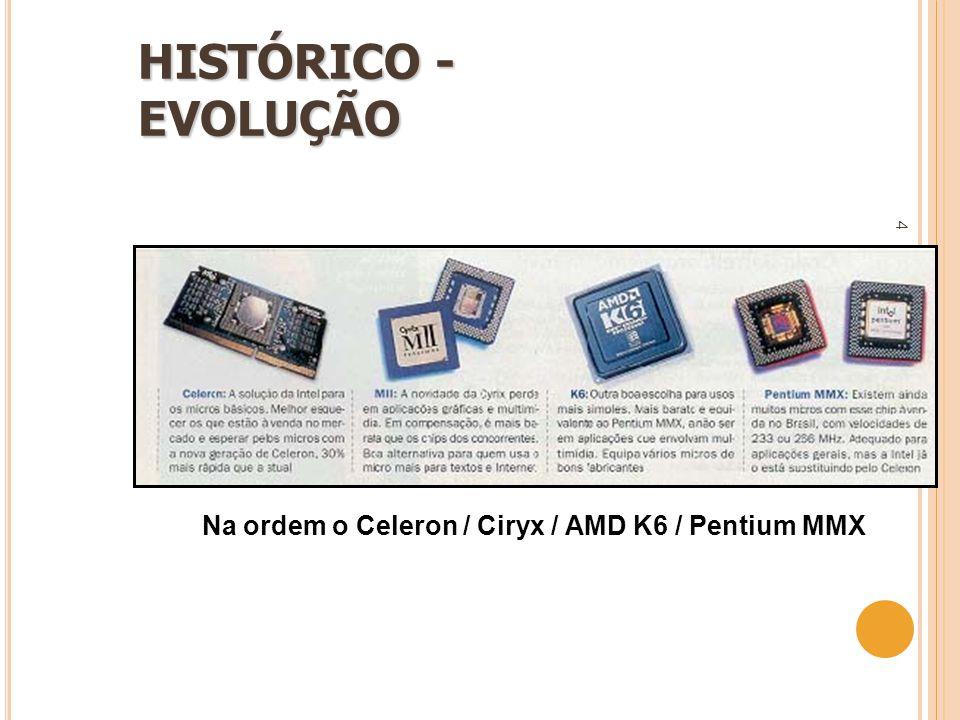 4 Na ordem o Celeron / Ciryx / AMD K6 / Pentium MMX HISTÓRICO - EVOLUÇÃO